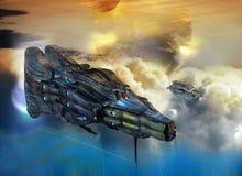 Ruimteschip over wolken op vreemde planeet royalty-vrije illustratie