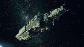 Ruimteschip in ruimte, ruimtevaartuig die door het heelal vliegen vector illustratie