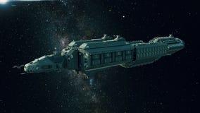 Ruimteschip in ruimte, ruimtevaartuig die door het heelal vliegen stock illustratie