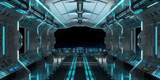 Ruimteschipbinnenland met mening bij het zwarte venster 3D teruggeven Stock Foto's