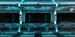Ruimteschipbinnenland met mening bij het zwarte venster 3D teruggeven Stock Foto