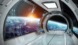 Ruimteschipbinnenland met mening over Aarde 3D teruggevende elementen van t Stock Afbeelding