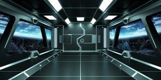 Ruimteschipbinnenland met mening over Aarde 3D teruggevende elementen van t Royalty-vrije Stock Fotografie