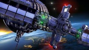 Ruimteschipwiel dichtbij Aarde vector illustratie