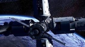 Ruimtestation die Earth vector illustratie