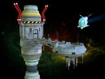 Ruimtestation, Science fiction, Exploratie stock illustratie