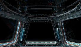 Ruimtestationvenster het 3D teruggeven Stock Foto
