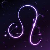 Ruimtesymbool van Leeuw van dierenriem en horoscoopconcept, vectorkunst en illustratie Stock Afbeelding