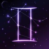 Ruimtesymbool van Tweeling van dierenriem en horoscoopconcept, vectorkunst en illustratie Stock Afbeelding
