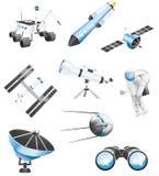 Ruimtetechnologiepictogrammen stock illustratie
