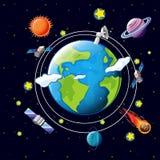 Ruimtethema met satellieten en planeten rond aarde stock illustratie