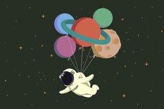 Ruimtevaarder die met ballons als planeten vliegen stock illustratie