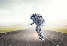 Ruimtevaarder op vliegende raad Gemengde media Royalty-vrije Stock Foto's