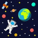 Ruimtevaarderssterren en planeten vector illustratie