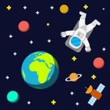 Ruimtevaarderssterren en planeten stock illustratie