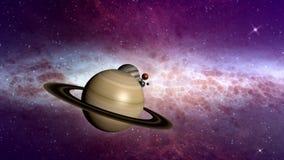 Ruimtevaart langs planeten in het zonnestelsel stock illustratie