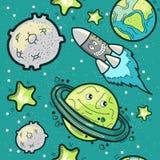 Ruimtevaart Naadloos Patroon Stock Afbeeldingen