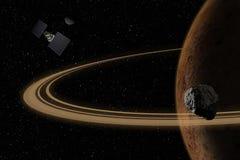 Ruimtevaartuig die aan onbekende planeet in kosmische ruimte vliegen stock illustratie