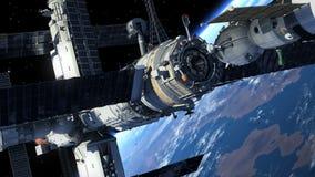 Ruimtevaartuig die aan Ruimtestation dokken royalty-vrije illustratie