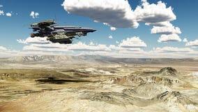 Ruimtevaartuig over een woestijnlandschap vector illustratie