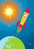 Ruimtevaartuig in ruimte Royalty-vrije Stock Afbeeldingen