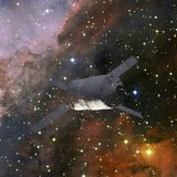 ruimtevaartuig Science fictionbehang Elementen van dit die beeld door NASA wordt geleverd royalty-vrije stock foto