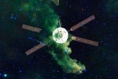 Ruimtevaartuiglancering in Ruimte Schoonheid van kosmische ruimte royalty-vrije illustratie