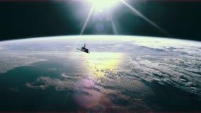 Ruimteveer in baan over aarde 4K vector illustratie