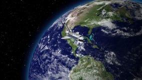 Ruimteveer boven de Aarde stock videobeelden