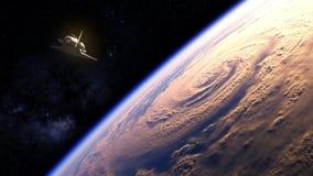 Ruimteveer die over de Aarde vliegen vector illustratie