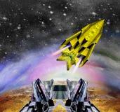 Ruimteveer die van spaceport beginnen vector illustratie