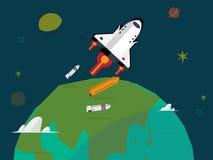 Ruimteveer lancering en raketscheiding over de aarde Royalty-vrije Stock Foto's