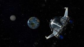 Ruimteveer naderbij komende Aarde Royalty-vrije Stock Afbeelding