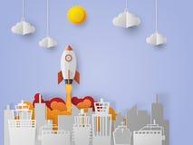 Ruimteveerlancering aan de hemel, start bedrijfsconcept Royalty-vrije Stock Afbeelding