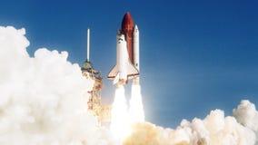 Ruimteveerlancering in langzame motie NASA-verwijderd embleem royalty-vrije illustratie