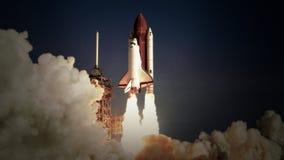 Ruimteveerlancering in langzame motie NASA-verwijderd embleem vector illustratie