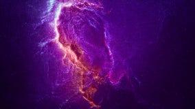 Ruimtevlucht door Nevel Ruimtevaart Ruimteanimatieachtergrond met purpere en rode nevel, vele sterren voor stock illustratie