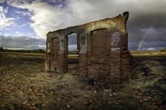 Ruin. The reminisce of an old community hall stand burnt in the Australian outback Royalty Free Stock Photos
