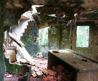 Ruin. Abandoned house with the roof partly collapsed Royalty Free Stock Photography