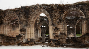Ruin Abbey of Vauclair in France. stock photo