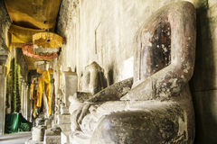 Ruin and Ancient Buddha Statue in Angkor Wat, Cambodia Royalty Free Stock Photos