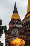 Ruin of ancient buddha temple in Thailand Royalty Free Stock Photo