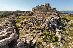 Ruin of an ancient chapel in Cres Croatia. On a sunny day in spring Stock Photography