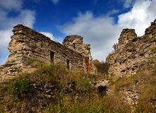 Ruin ancient destroyed fortress. Russia. Koporye Stock Image