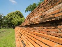 Ruin and ancient orange brick wall Royalty Free Stock Photography