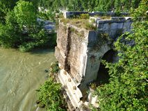 The Ruin of an Ancient Roman Bridge royalty free stock images