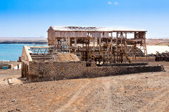 Ruin of ancient salt extraction factory in Pedra Lume near Salin Royalty Free Stock Photography