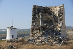 Ruin of ancient windmill, Santorini, Greece. Stock Photo