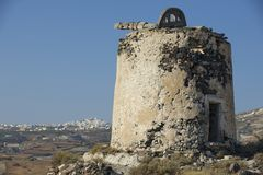 Ruin of ancient windmill at Santorini, Greece. Stock Images
