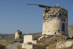Ruin of ancient windmill at Santorini, Greece. Royalty Free Stock Photography